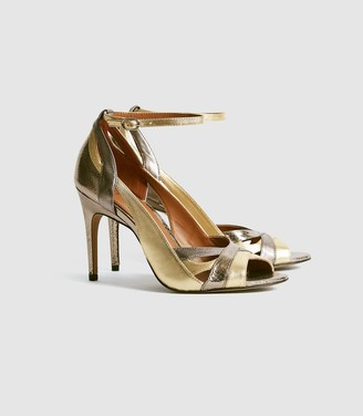 Reiss Florence - Metallic Strappy High Heeled Sandals in Dark Grey