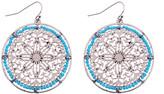 Mexzotic MexZotic Women's Earrings Silver/Gold - Blue & Silvertone Filigree Openwork Atlantis Drop Earrings