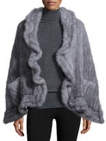 Adrienne Landau Mink Fur Knit Wrap w/Pockets