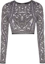 Herve Leger Mackenzie cropped matelassé jacquard-knit top