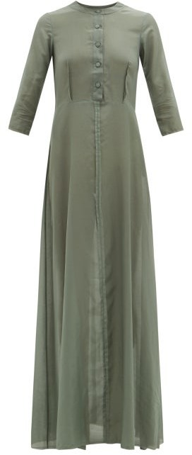 ALBUS LUMEN Andrea Raw-seam Cotton-blend Maxi Dress - Green