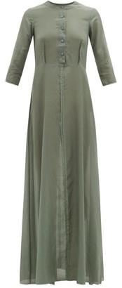 ALBUS LUMEN Andrea Raw-seam Cotton-blend Maxi Dress - Womens - Green