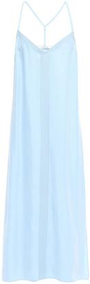 Frame Embroidered Satin Midi Slip Dress