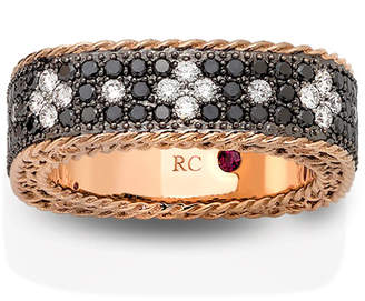Roberto Coin 18k Rose Gold Venetian Princess Diamond Ring with Black & White Diamonds, Size 6.5