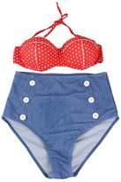 Your Gallery Retro Sexy High Waist Pin up Bikini Sets Polka Top+denim Bottom