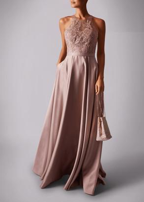 Mascara London Satin Pocket Lace Embroided Maxi Dress