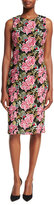 Badgley Mischka Sleeveless Floral-Embroidered Cocktail Sheath Dress