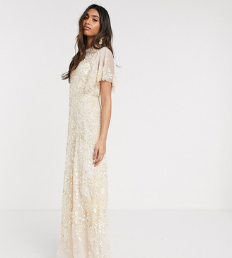 Needle & Thread soft embellished maxi dress in blush