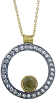 Todd Reed Oxidized Sterling and Raw Diamond Circle Necklace