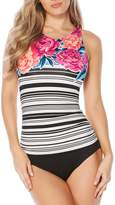Jantzen Floral Stripe High Neck H-Back Tummy Control One-Piece
