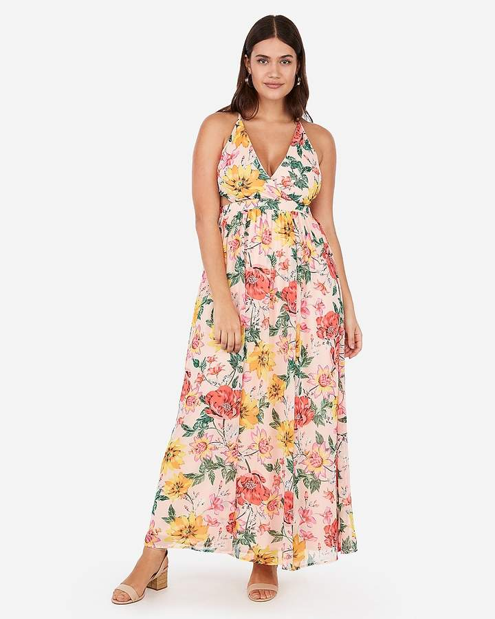 Express Floral Surplice Cut-Out Lace-Up Back Maxi Dress