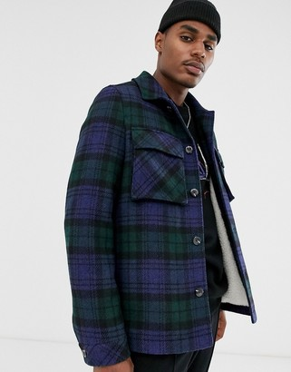 Asos Design DESIGN borg lined wool mix jacket in navy check