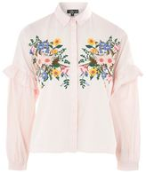 Topshop Floral embroidered shirt