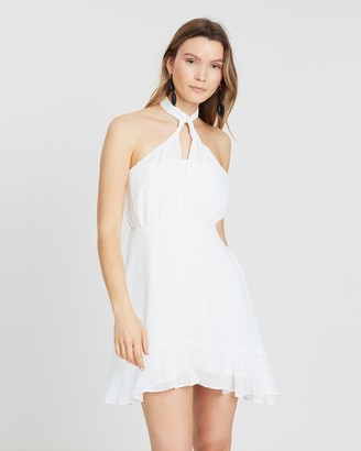 Atmos & Here Keyhole Front Halter Mini Dress