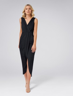 Forever New Audrey Wrap Jersey Maxi Dress - Navy - 4