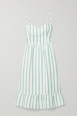 Reformation Eileen Striped Linen Midi Dress
