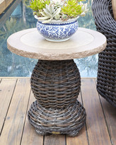 Horchow Madison Dark Outdoor Pedestal End Table