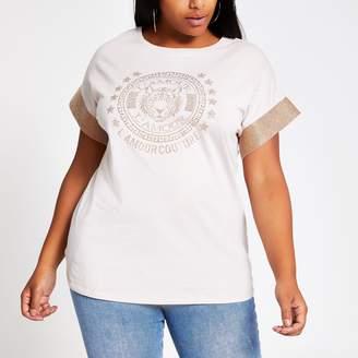 River Island Womens Plus Beige embellished sleeve T-shirt