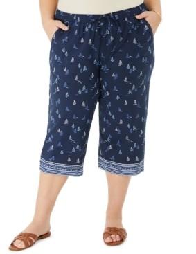 Karen Scott Plus Size Saiboat-Print Border Capri Pants, Created for Macy's