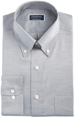 Club Room Men Classic/Regular Fit Stretch Wrinkle-Resistant Solid Pinpoint Dress Shirt