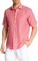 Toscano Short Sleeve Linen Plaid Regular Fit Shirt