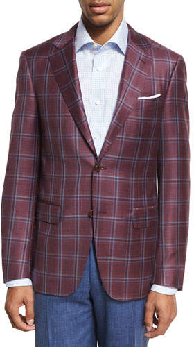Canali Plaid Wool Two-Button Sport Coat, Berry Red/Blue