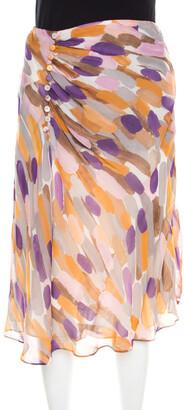Escada Multicolor Brushstroke Print Silk Ruched Front Flared Skirt M