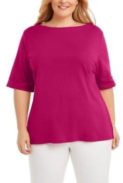 Karen Scott Plus Size Cotton T-Shirt, Created for Macy's