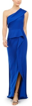 Vince Camuto One-Shoulder Peplum Gown