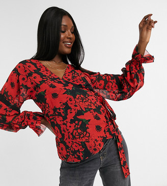 Hope & Ivy Maternity victorian ruffle detail wrap blouse in vibrant poppy print
