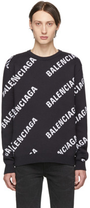 Balenciaga Navy and White Jacquard Logo Sweater