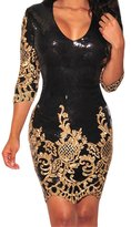 Min Qiao Women's Sexy Vintage Sequins 3/4 Sleeves Bodycon Party Evening Club Package Hip Dress