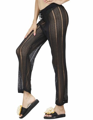 Kistore Womens Sexy Hollow Out See Through Mesh Long Crochet Pants Swimsuit Cover Up Pants - White - Large