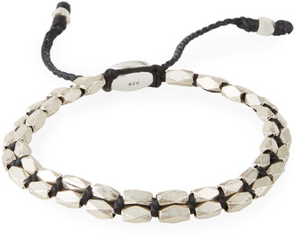 M. Cohen Men's Sterling Silver Bead Bracelet, Black