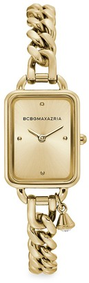 BCBGMAXAZRIA Classic Rectangular Goldtone Stainless Steel Charm Bracelet Watch