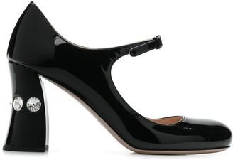 Miu Miu crystal heel Mary Jane pumps
