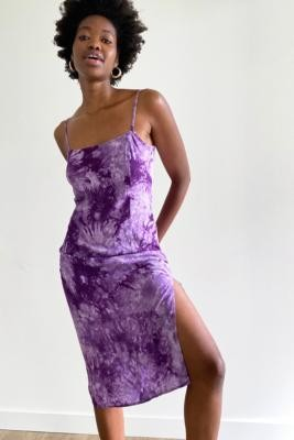 Urban Renewal Vintage Urban Outfitters Archive Purple Tie-Dye Midi Slip Dress - Purple XS at Urban Outfitters