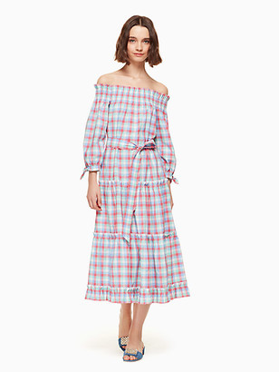 Kate Spade Madras Off Shoulder Dress