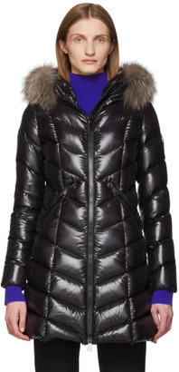 Moncler Black Down and Fur Fulmarus Coat