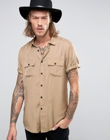 Asos Military Shirt In Stone Viscose In Regular Fit