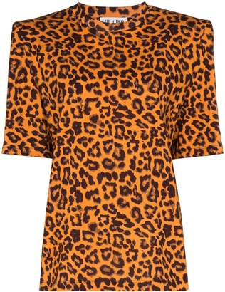 ATTICO The leopard print padded shoulder T-shirt