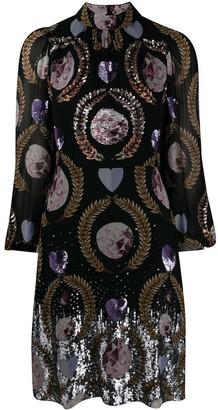 Temperley London sequin-embellished printed dress