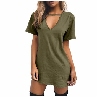 ELUP Women's T-Shirt Dress Casual Simple Solid Color Short Sleeves Dresses Plus Size Nightdress for Women