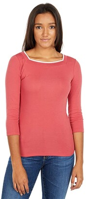 Lauren Ralph Lauren Petite Cotton Blend Top (Moroccan Pink) Women's Clothing
