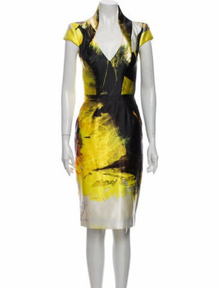 Rubin Singer Printed Knee-Length Dress Yellow