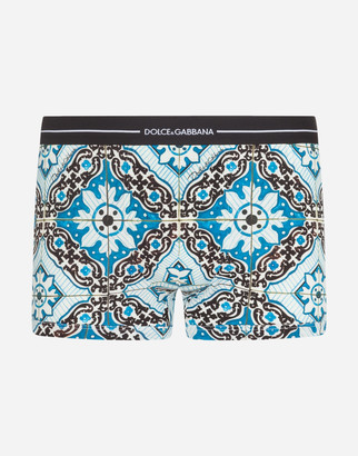 Dolce & Gabbana Cotton Boxers With Maiolica Print On A Sky Blue Background