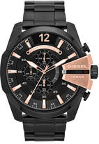 Diesel Watch, Men's Chronograph Mega Chief Black Ion-Plated Stainless Steel Bracelet 59x51mm DZ4309