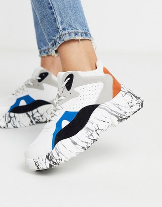 Qupid marble sole extreme chunky flatform trainers in multi
