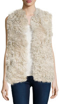 Tess Giberson for Neiman Marcus Cashmere Collection Shearling Vest with Knit Back