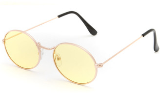 Full Tilt Metal Oval Yellow Sunglasses